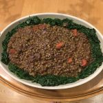 We brought this beautiful Lentil and Spinach dish to Karen's pot luck dinner last night!